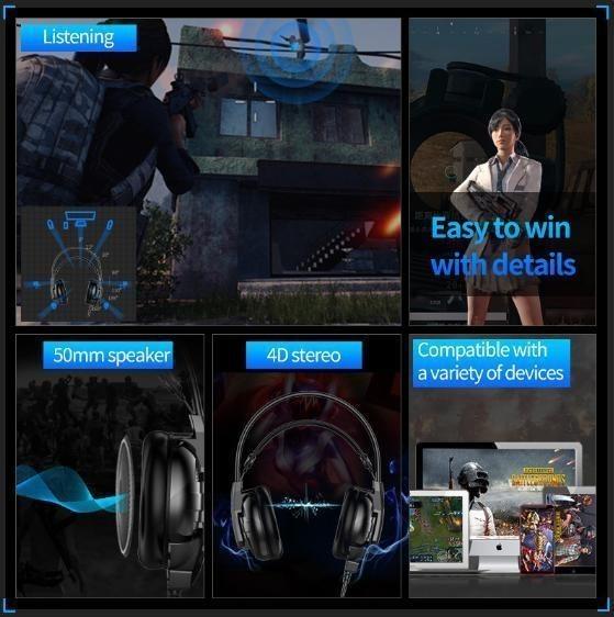 新品★送料無料 ゲーミングヘッドセット マイク付き 人気 ヘッドホン ゲーマー FPS アクション 映画 音楽 PC/ゲ E544_画像6