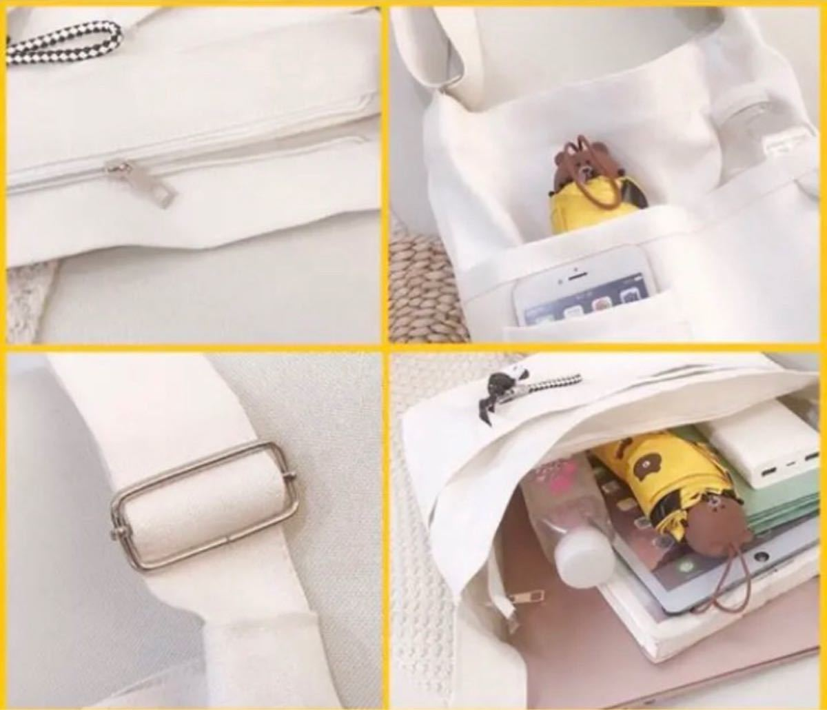 レディースバッグ ショルダーバッグ キャンバスバッグ ホワイト トートバッグ オフホワイト トートバッグ
