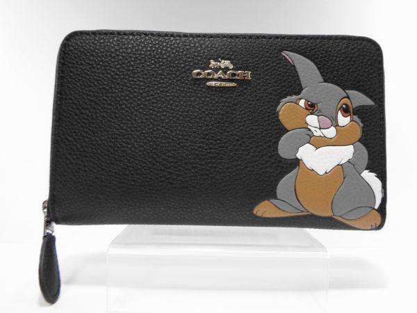新品定価約2.1万 新品 同様 未使用 コーチ ディズニー コラボ とんすけ 長財布 ブラック 黒 レディース メンズ 贈物にも (34)