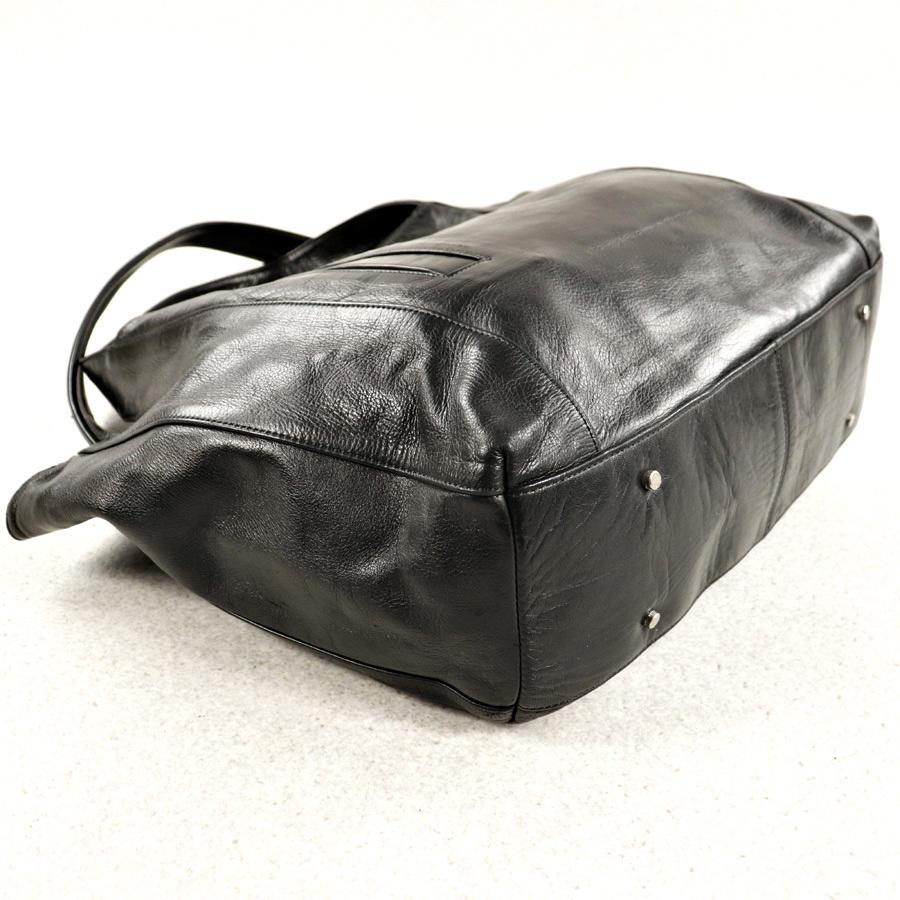 参考価格¥42,120- メンズ 人気 美品 日本製 aniary アニアリ 牛革 カウスキン オールレザー トートバッグ 肩がけ可能 横型 黒 ブラック_画像5