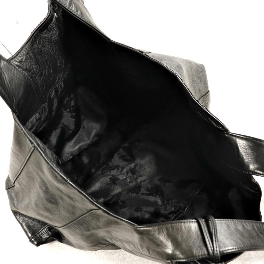 参考価格¥42,120- メンズ 人気 美品 日本製 aniary アニアリ 牛革 カウスキン オールレザー トートバッグ 肩がけ可能 横型 黒 ブラック_画像6