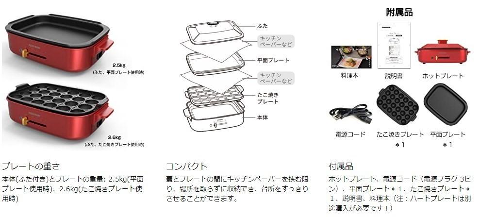 [新品] ホットプレート 多機能 焼肉 2枚セット 1200W 無段階温度調節 たこ焼きプレート 平面プレート 着脱式グリル鍋