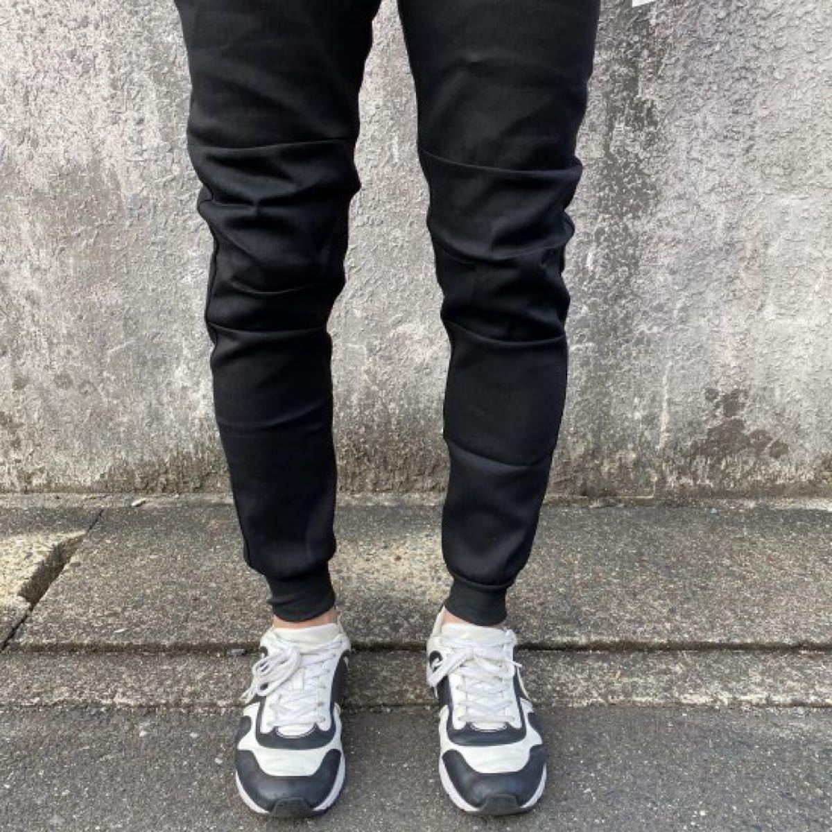 【春本番・お出かけ】メンズ デニムジョガーパンツ スキニー ジーンズ デニム調 ブラック
