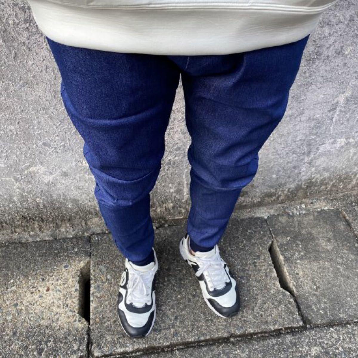 【春本番・お出かけ】メンズ デニムジョガーパンツ スキニー ジーンズ デニム調 ネイビー