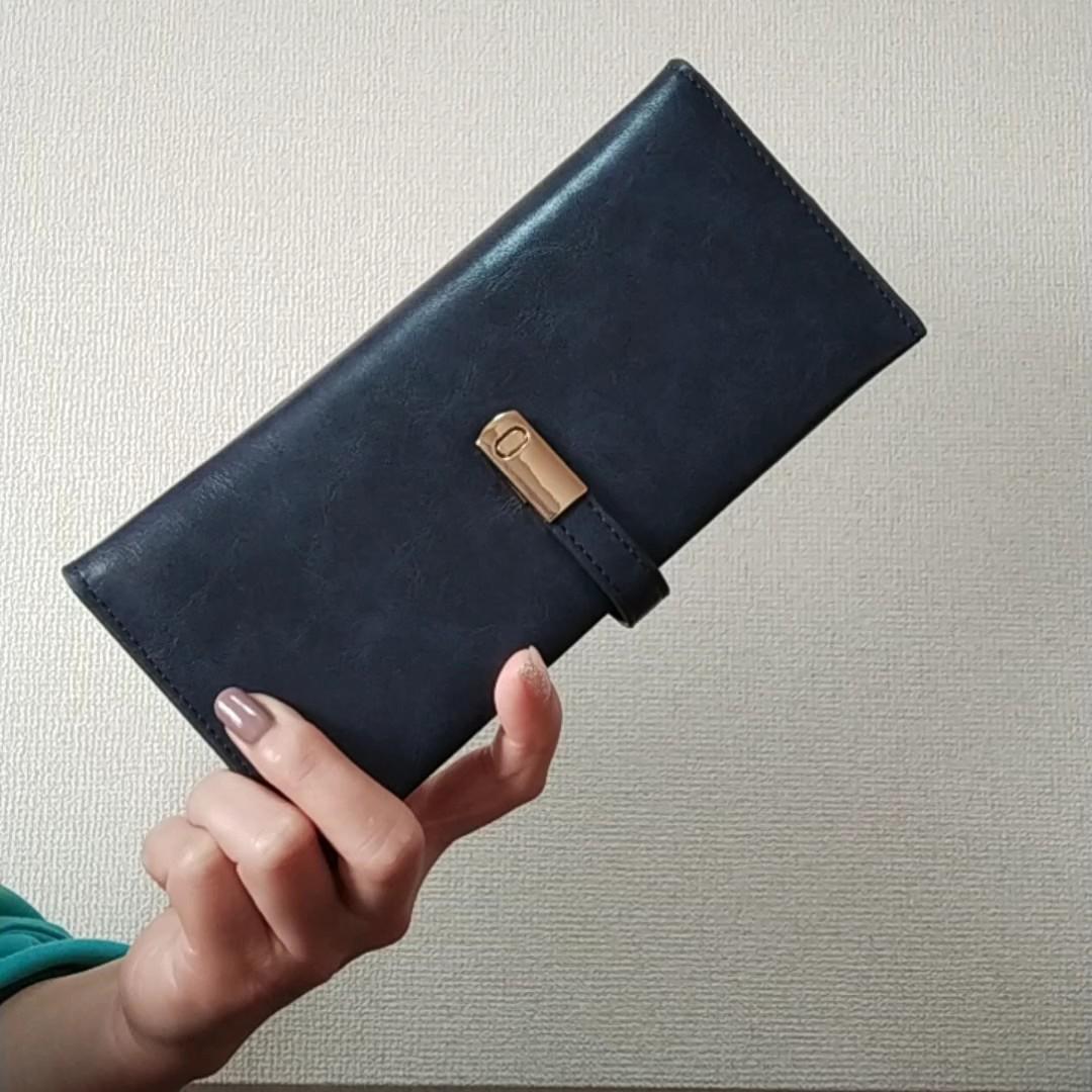 長財布薄型ウォレットレディース二つ折りPUレザーシンプル高級小銭入れ ネイビー