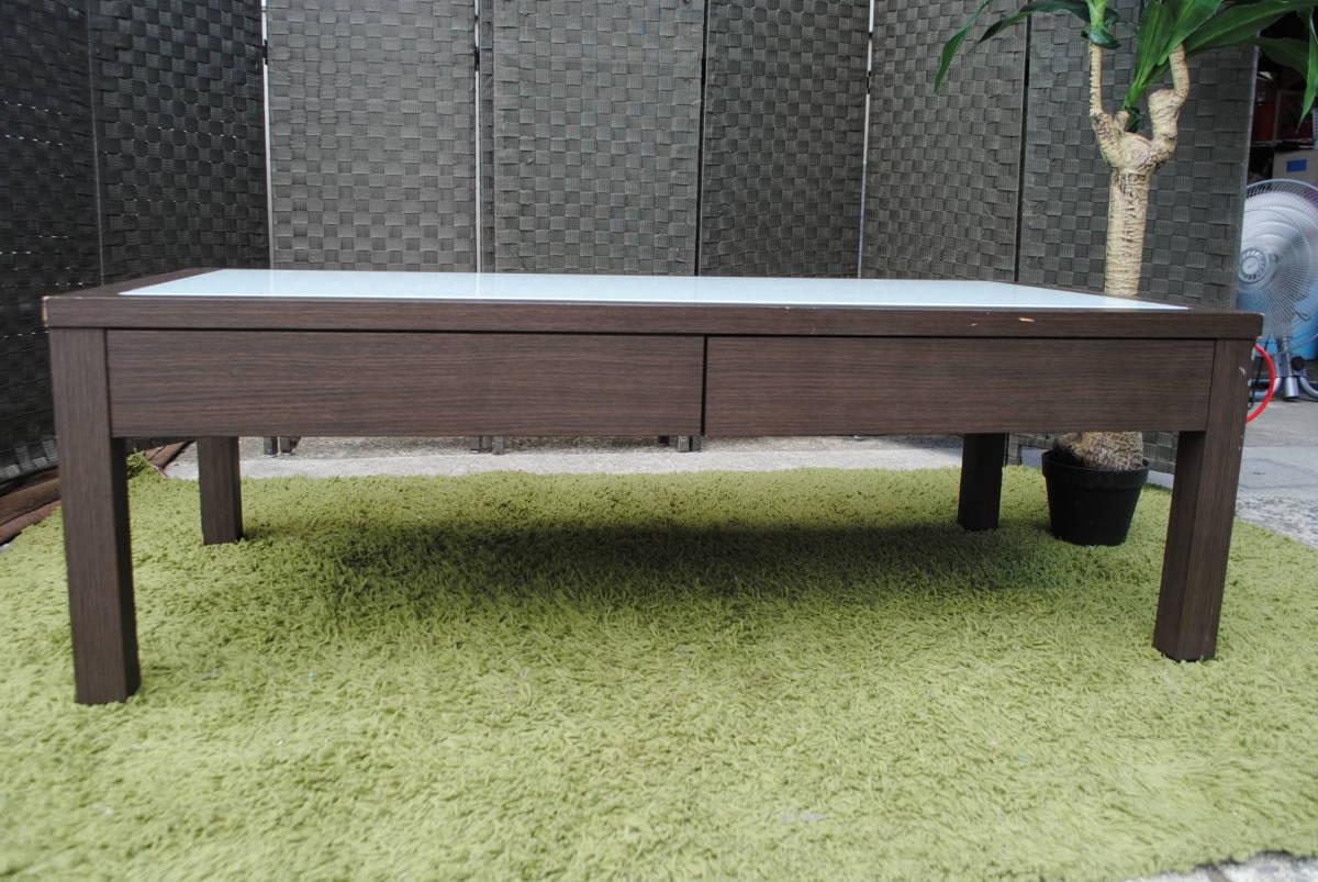 き333 テーブル/センターテーブル/ローテーブル/ガラス天板/引き出し収納/家具/ジューンセンターテーブル/120㎝×60㎝×40㎝_画像7