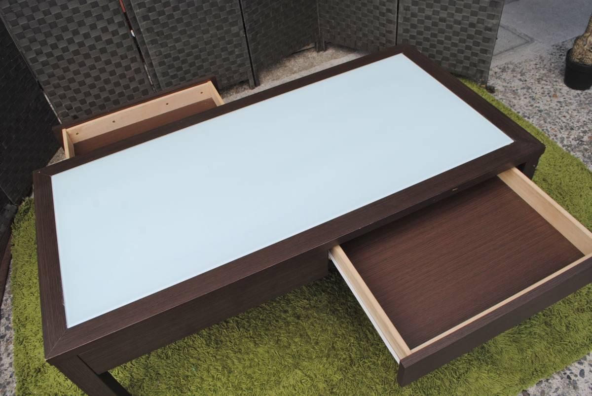 き333 テーブル/センターテーブル/ローテーブル/ガラス天板/引き出し収納/家具/ジューンセンターテーブル/120㎝×60㎝×40㎝_画像8