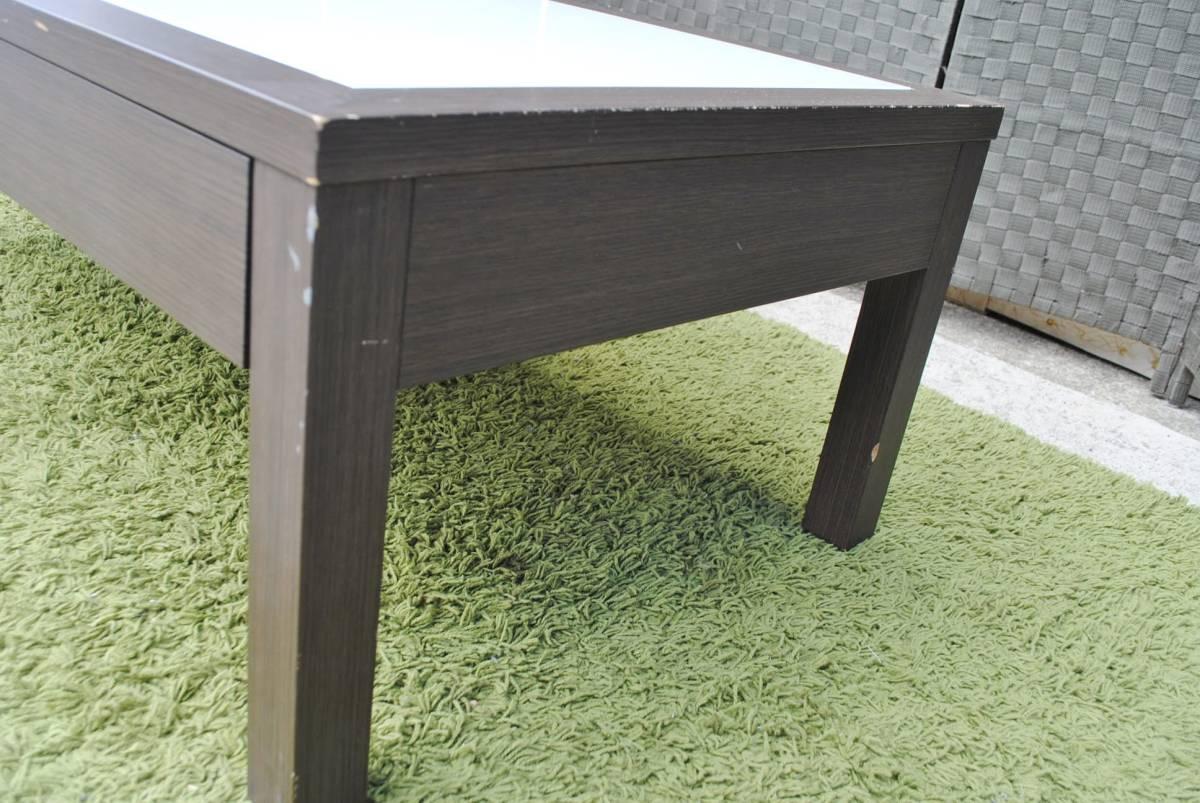 き333 テーブル/センターテーブル/ローテーブル/ガラス天板/引き出し収納/家具/ジューンセンターテーブル/120㎝×60㎝×40㎝_画像10