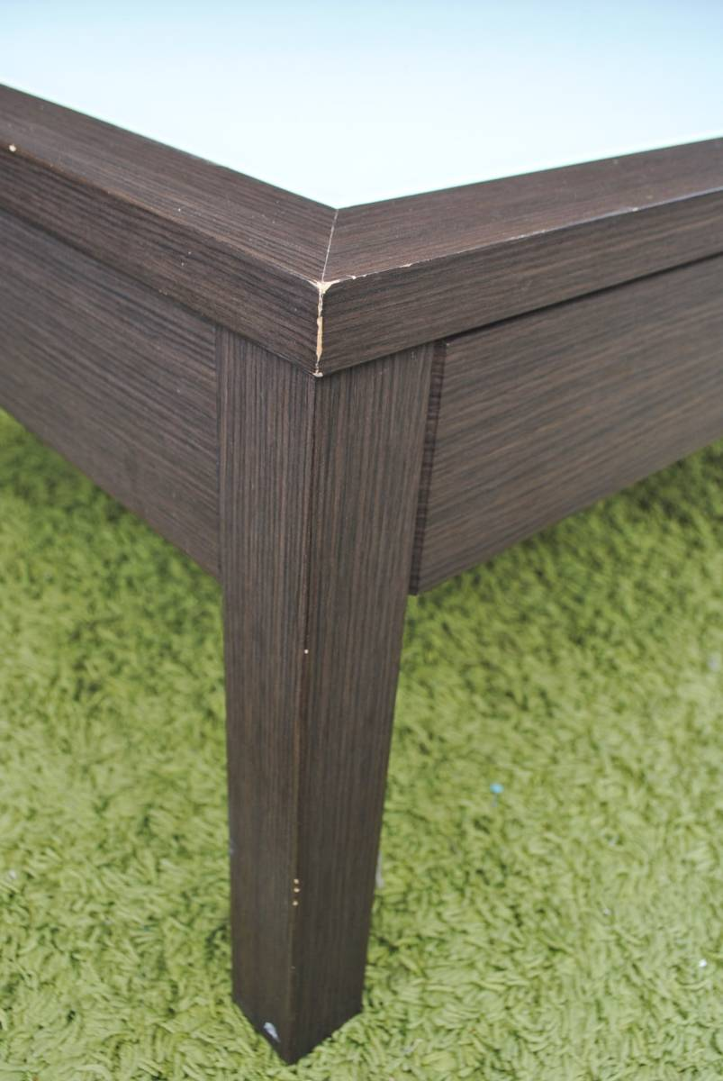 き333 テーブル/センターテーブル/ローテーブル/ガラス天板/引き出し収納/家具/ジューンセンターテーブル/120㎝×60㎝×40㎝_画像4