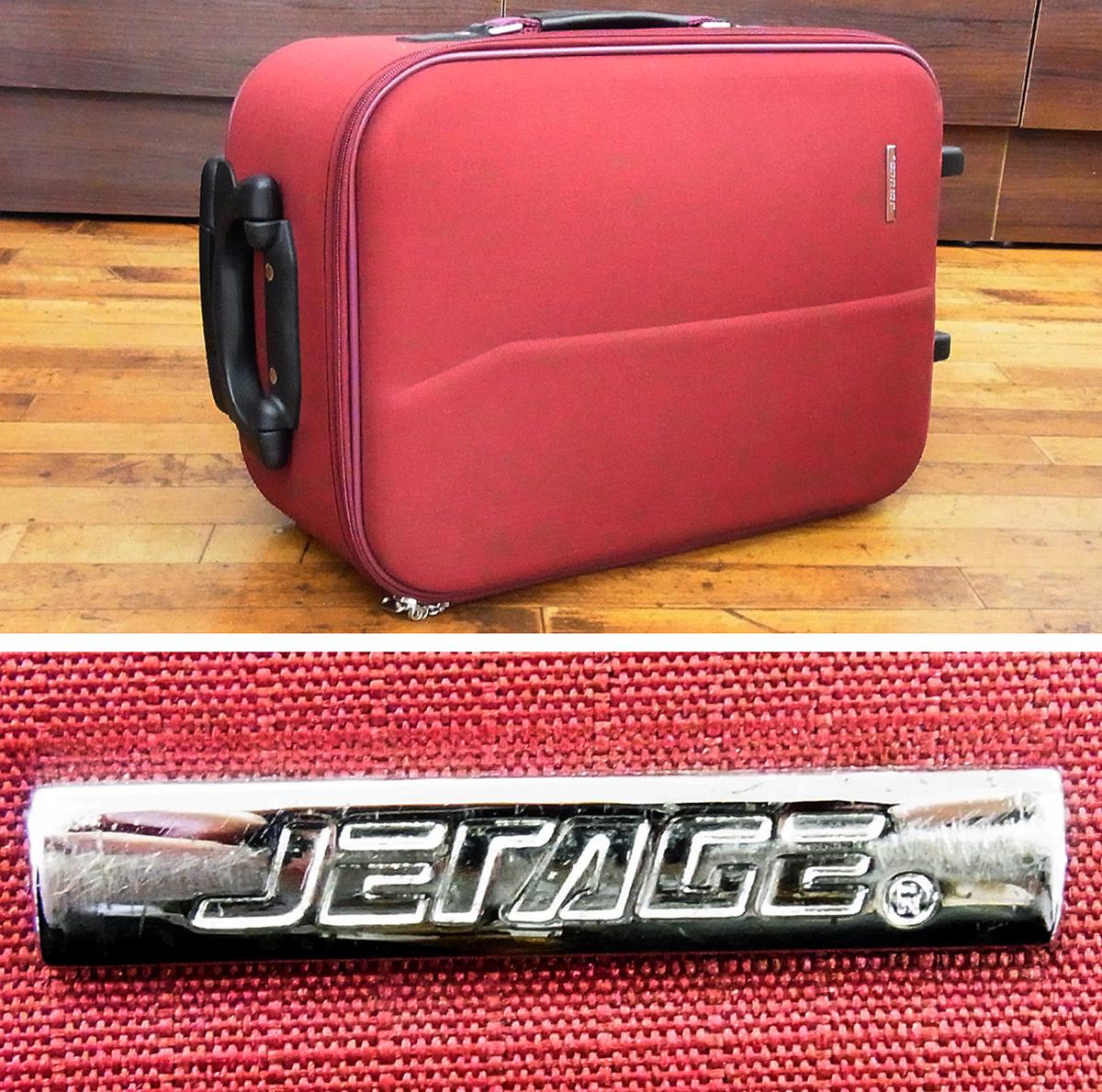 JETAGE/ジェットエイジ ソフト キャリーバッグ ワインレッド 機内持ち込みサイズ 鍵欠品 キャリーケース/スーツケース/トラベルバッグ_画像3
