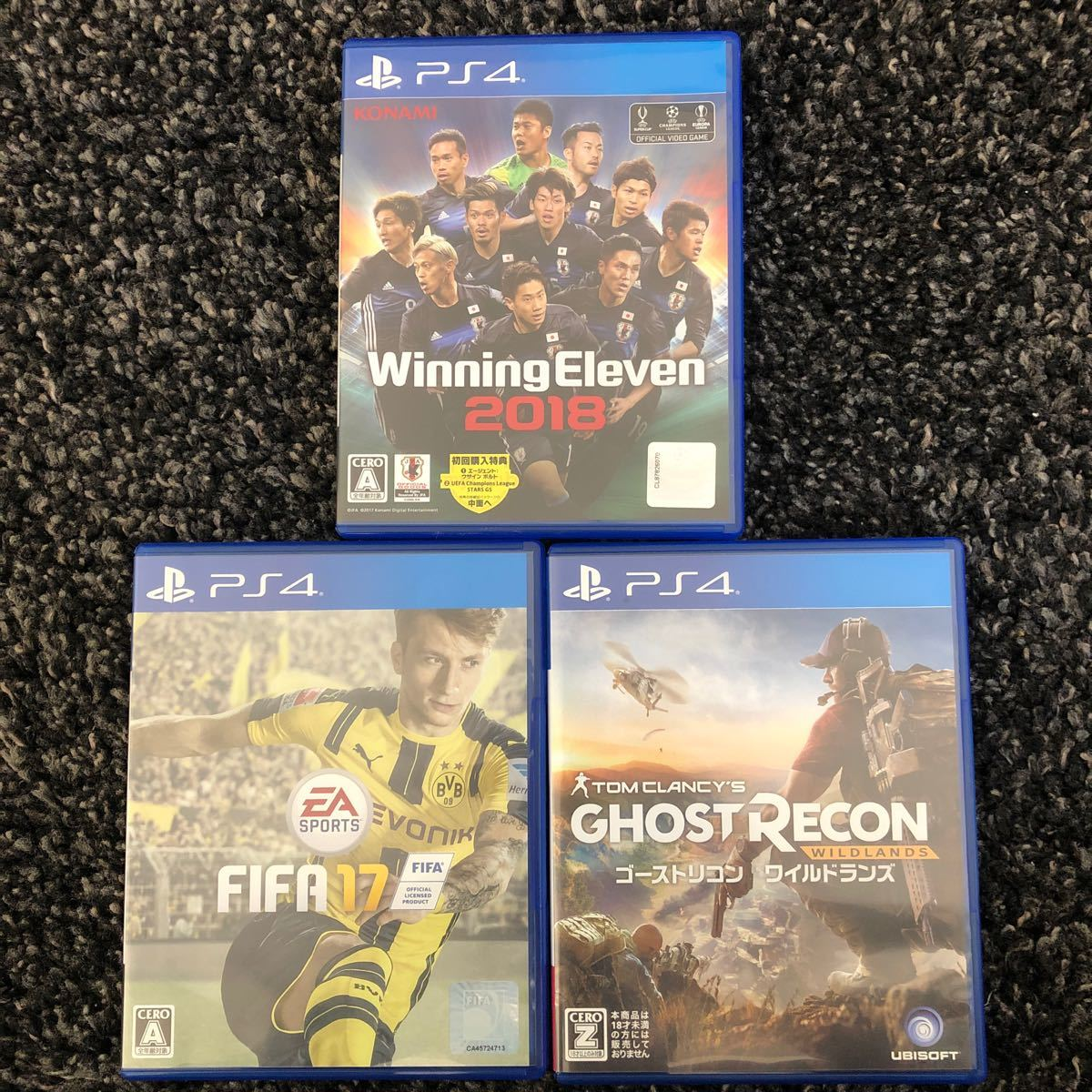 【PS4】 ウイニングイレブン 2018、FIFA17、GHOST RECON 3点セット