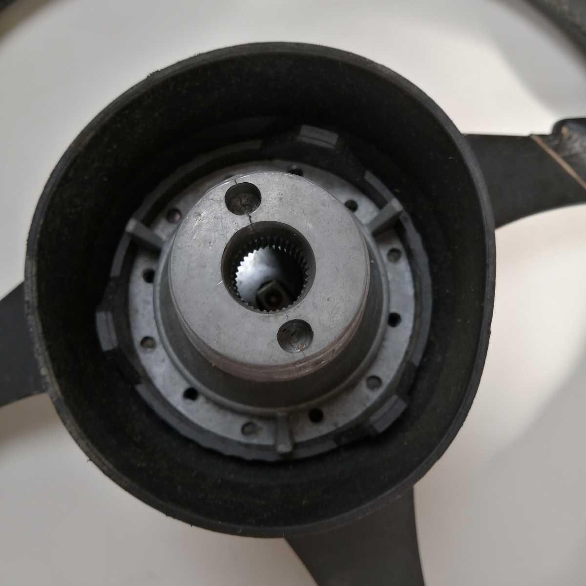 □21032211 NARDI/ナルディ ステアリング ホーンボタン ステアリング セット 黒/黒 直径約36.5cm ハンドル USED_画像8