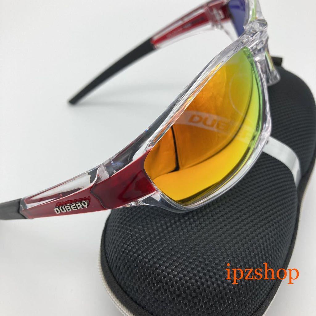 DUBERY 偏光 サングラス UVカット 新品 未使用 送料無料 レッドミラーレンズ 大人気 即決 運転 釣り サイクリング エギング スポーツ