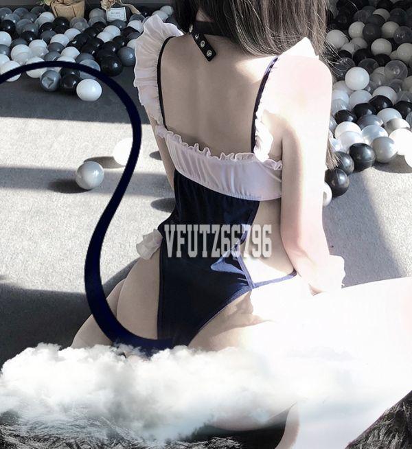 最新作 超sexy美胸.エロ可愛いメイド服風 ハイレグレオタード..コスプレ衣装.スクール水着 レースクイーン_画像5
