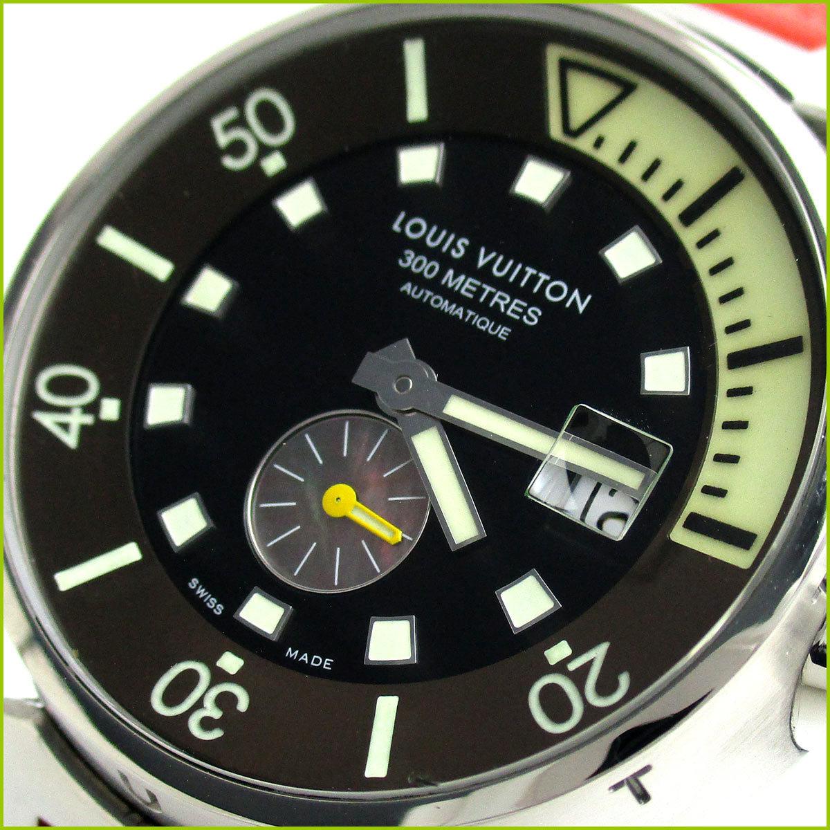 1円 ルイ・ヴィトン タンブール ダイビング オート メンズ ブラックシェル ダミエ Q1031