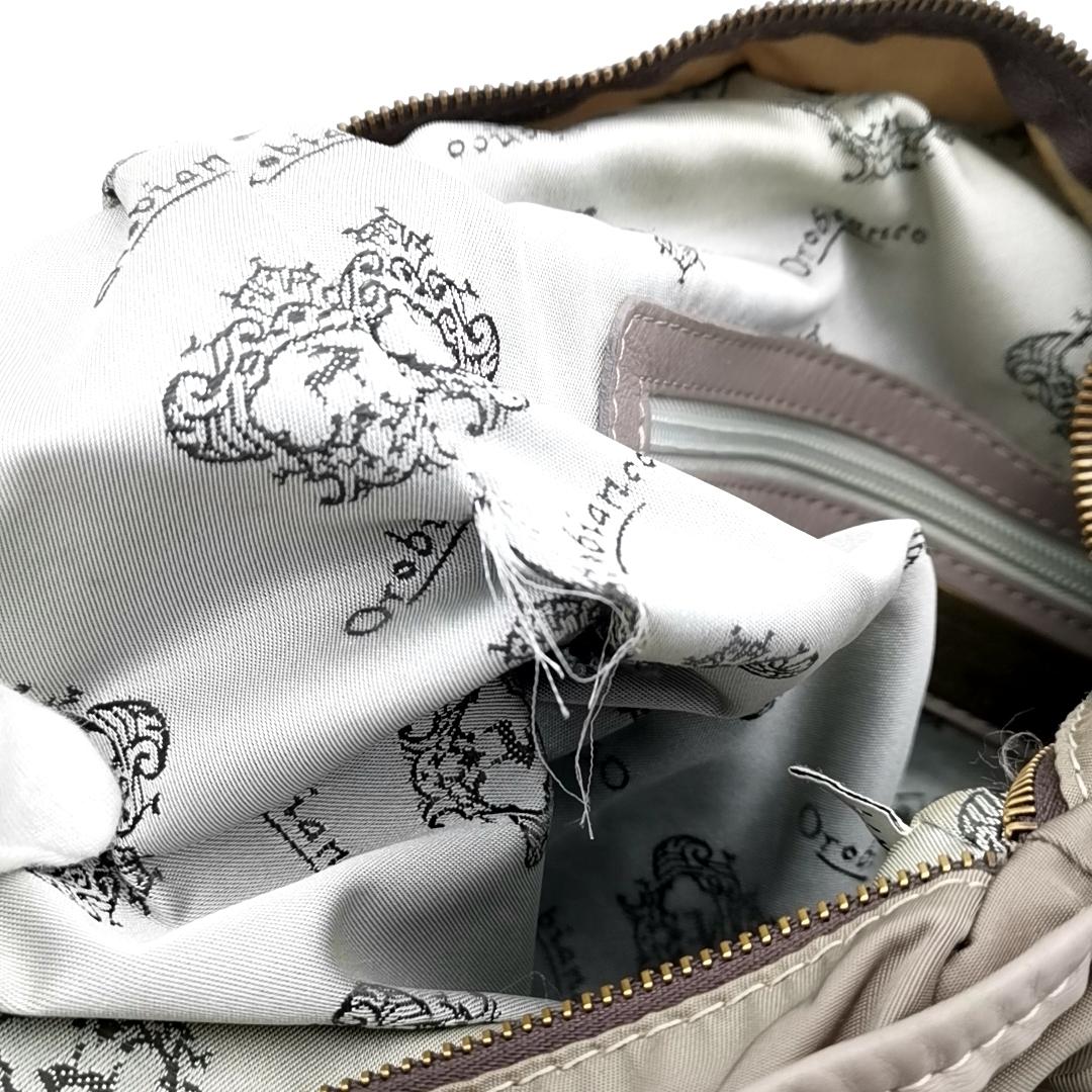 送料無料 オロビアンコ OROBIANCO ハンドバッグ トートバッグ 鞄 ナイロン 灰 グレー系 メンズ_画像10