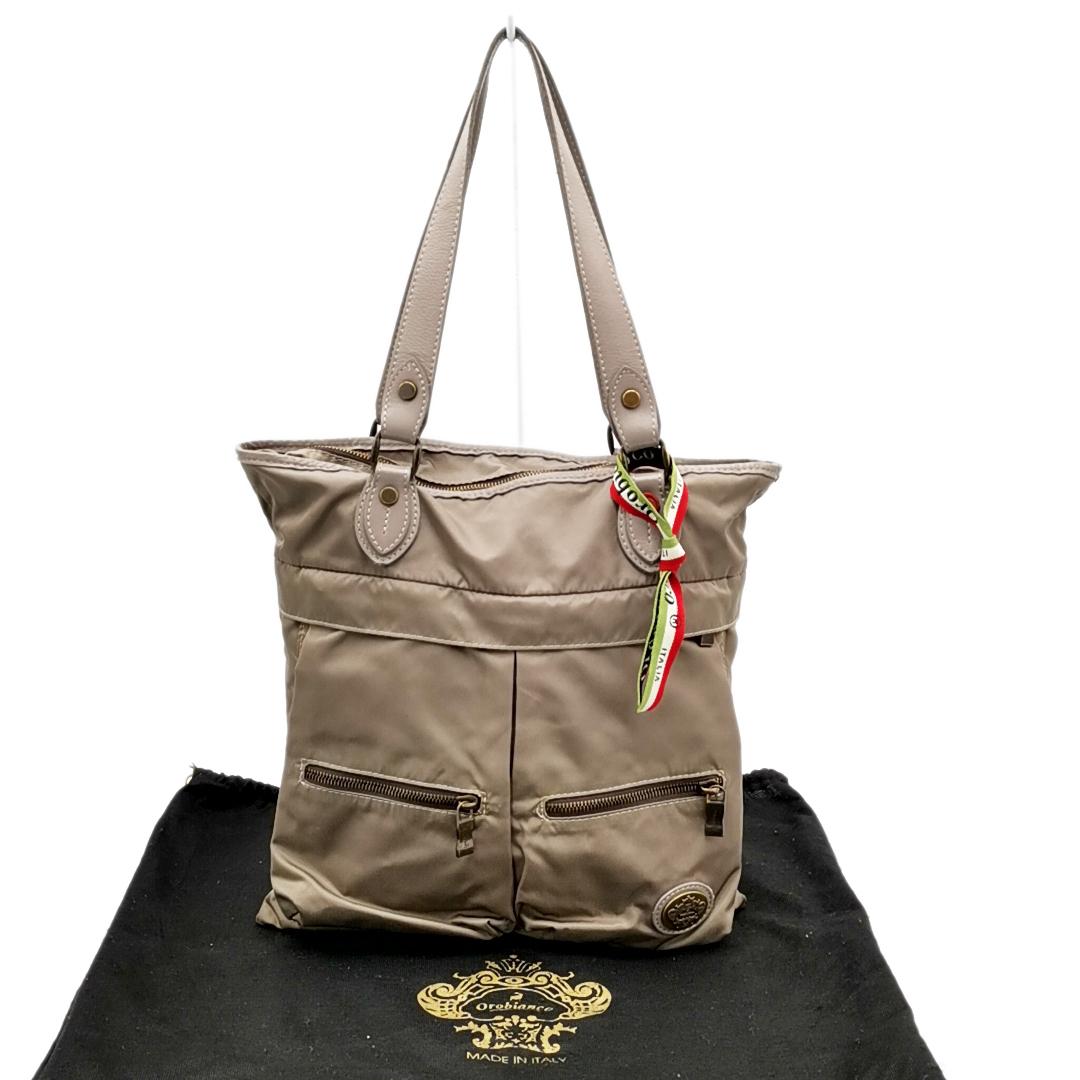 送料無料 オロビアンコ OROBIANCO ハンドバッグ トートバッグ 鞄 ナイロン 灰 グレー系 メンズ_画像1
