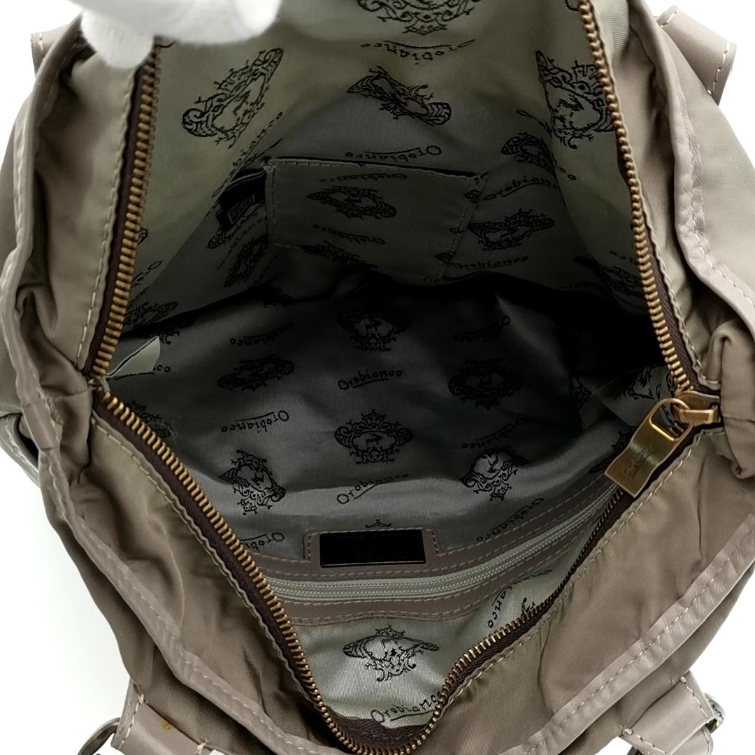 送料無料 オロビアンコ OROBIANCO ハンドバッグ トートバッグ 鞄 ナイロン 灰 グレー系 メンズ_画像9