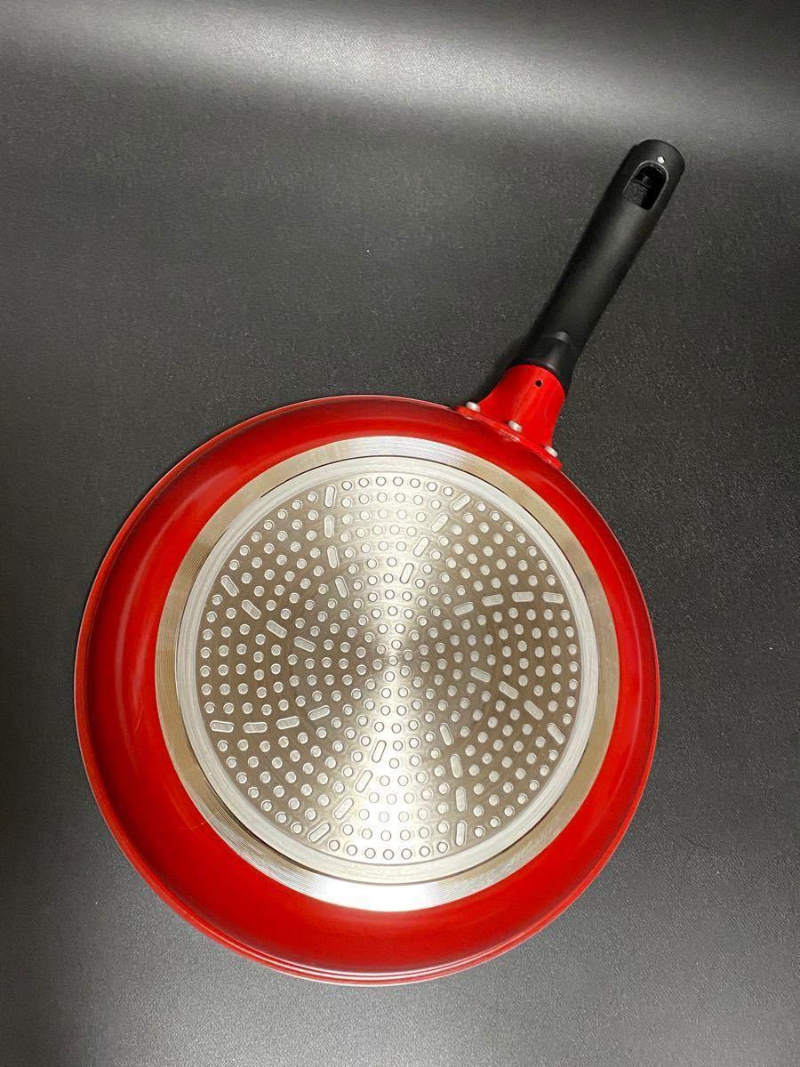 ベストコ(Bestoco) スーパープレミアムコート IH対応20cm+26cmフライパン 赤2点セット クリアレッド 新品
