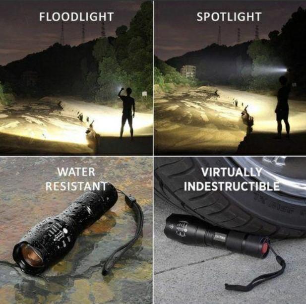 防水LEDランプ LED懐中電灯 高輝度ライト/USB充電式 キャンプ 夜釣り 夜間巡回 アウトドア