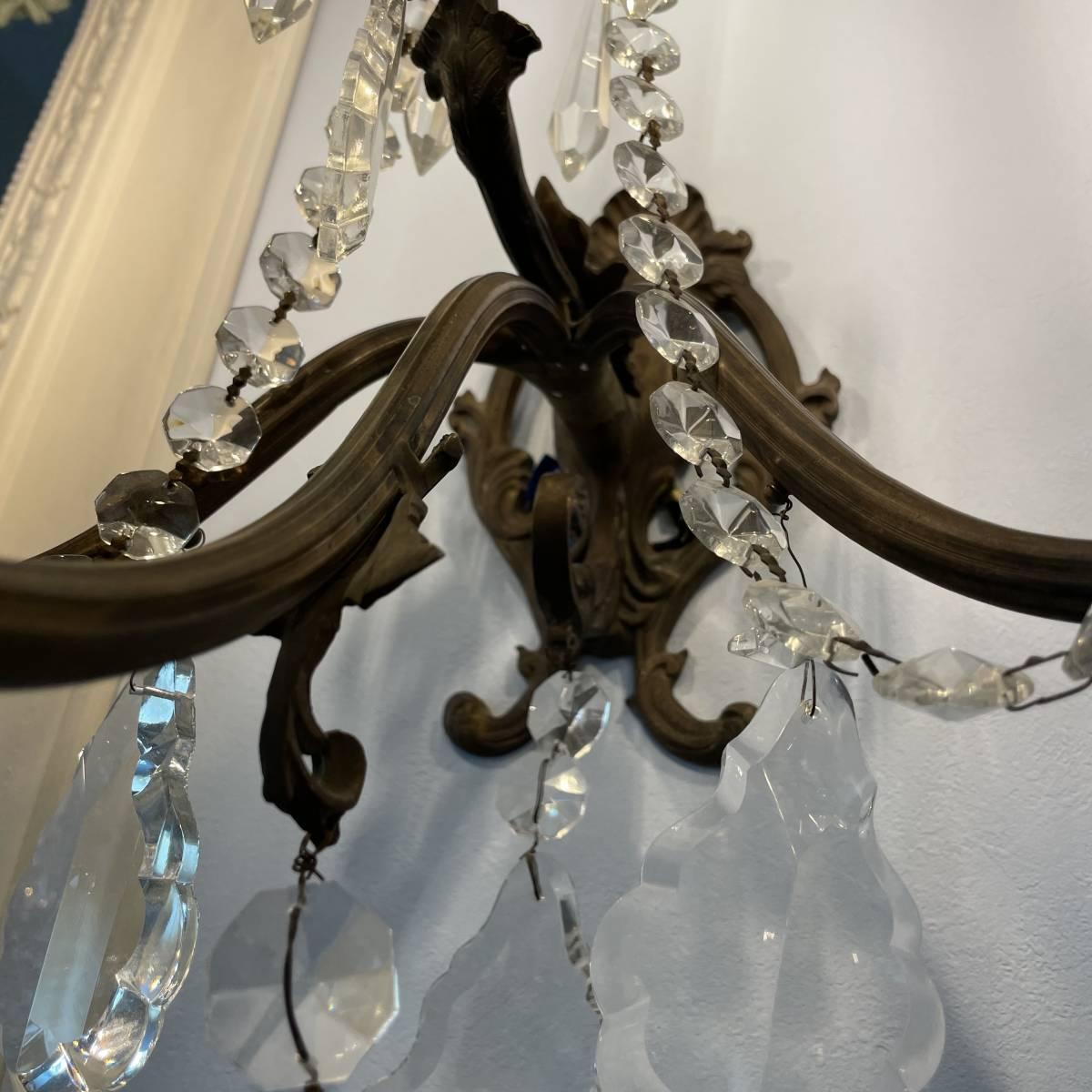 フランスアンティーク ブラケットペア 壁掛け照明 アンティーク照明 アンティークシャンデリア ガラスドロップ 壁掛けシャンデリア _インテリアの華やかなポイントになる照明