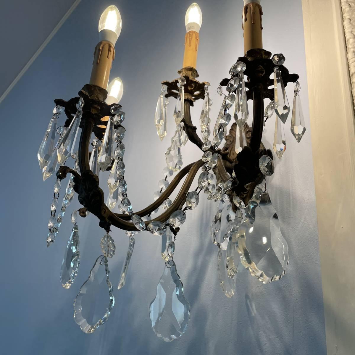 フランスアンティーク ブラケットペア 壁掛け照明 アンティーク照明 アンティークシャンデリア ガラスドロップ 壁掛けシャンデリア _画像2