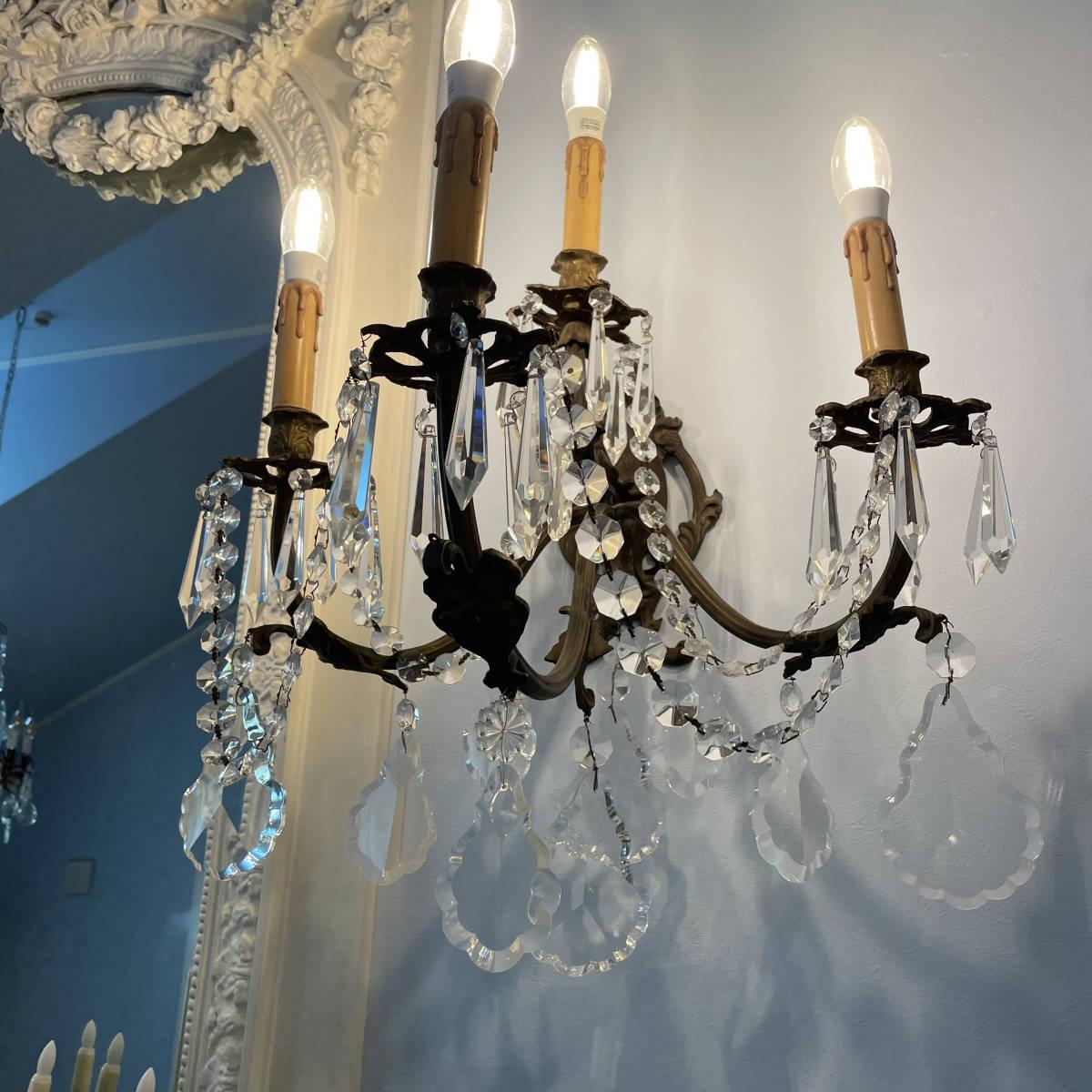 フランスアンティーク ブラケットペア 壁掛け照明 アンティーク照明 アンティークシャンデリア ガラスドロップ 壁掛けシャンデリア _画像5