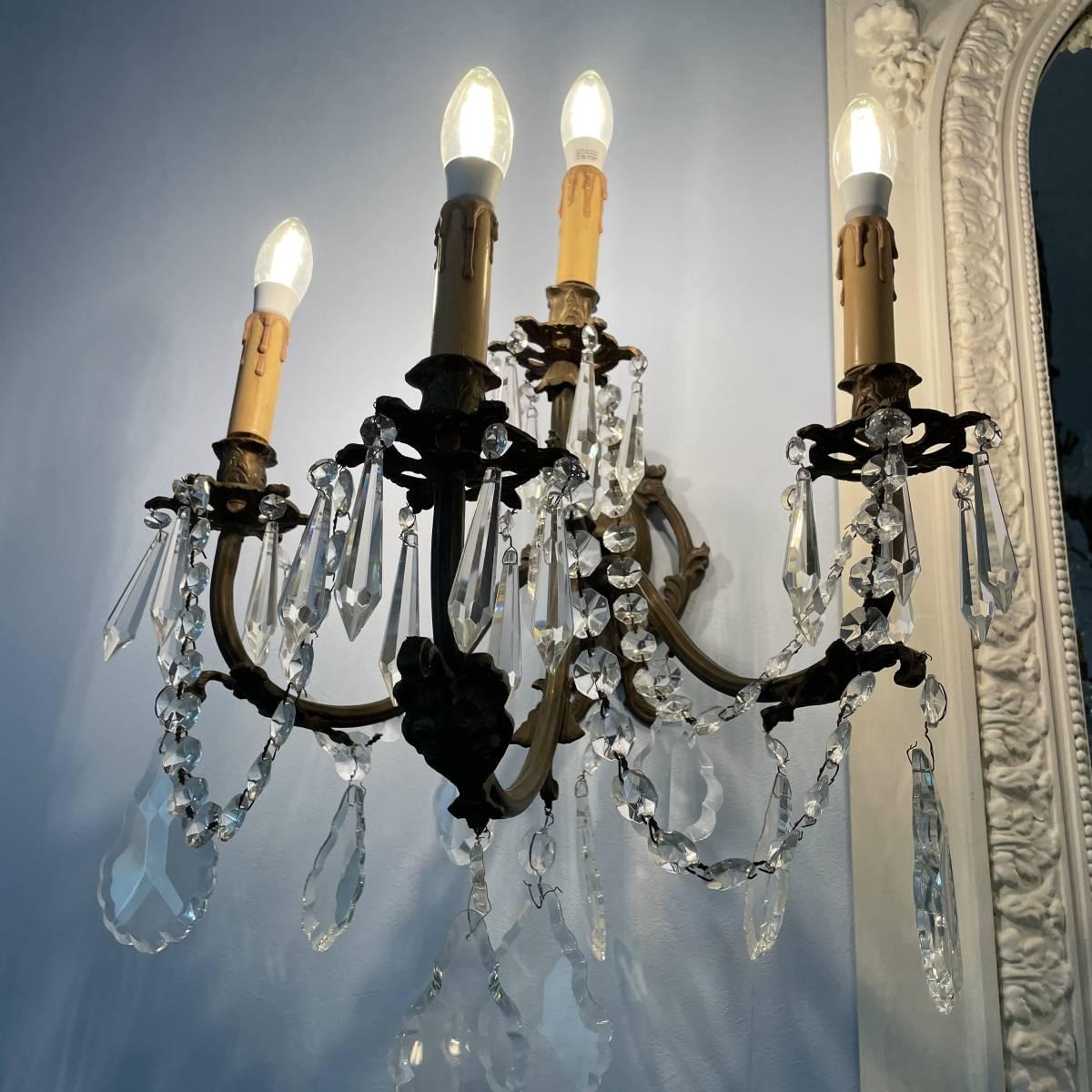フランスアンティーク ブラケットペア 壁掛け照明 アンティーク照明 アンティークシャンデリア ガラスドロップ 壁掛けシャンデリア _画像3