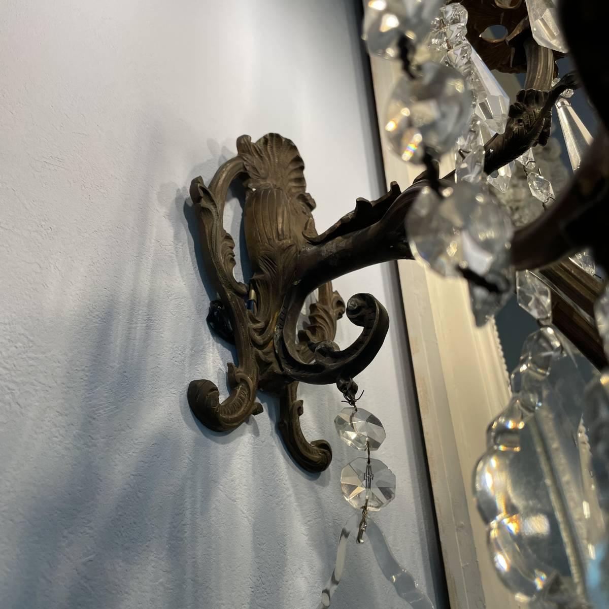 フランスアンティーク ブラケットペア 壁掛け照明 アンティーク照明 アンティークシャンデリア ガラスドロップ 壁掛けシャンデリア _画像4
