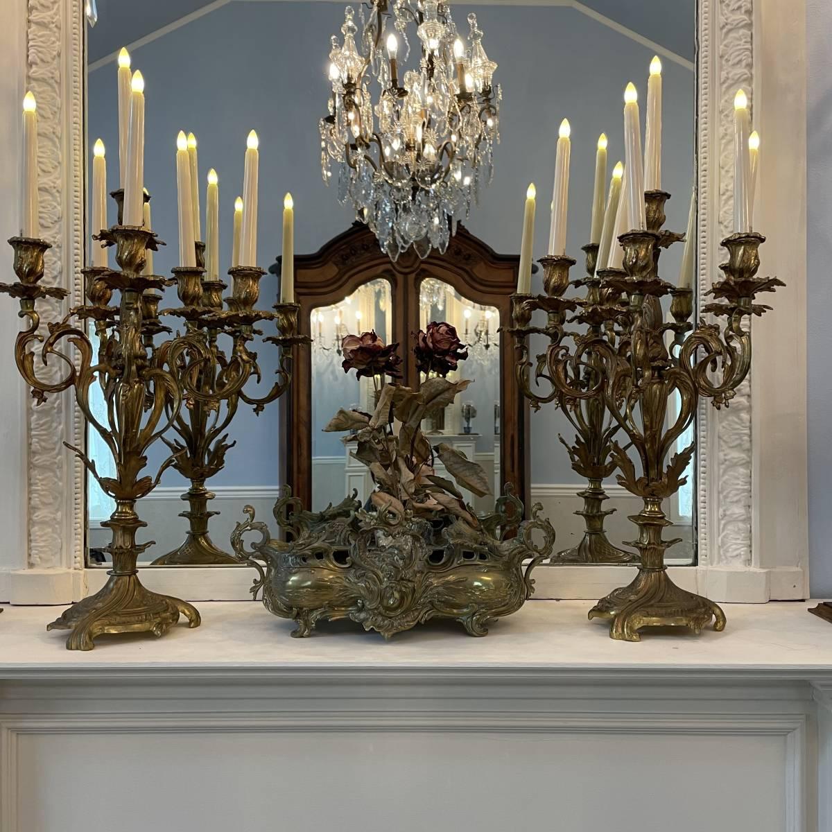 フランスアンティーク キャンドルスタンド ペア ルイ15世様式 ロココ アンティーク シャンデリア 蝋台 大型 セット_キャスドルライトはつきません