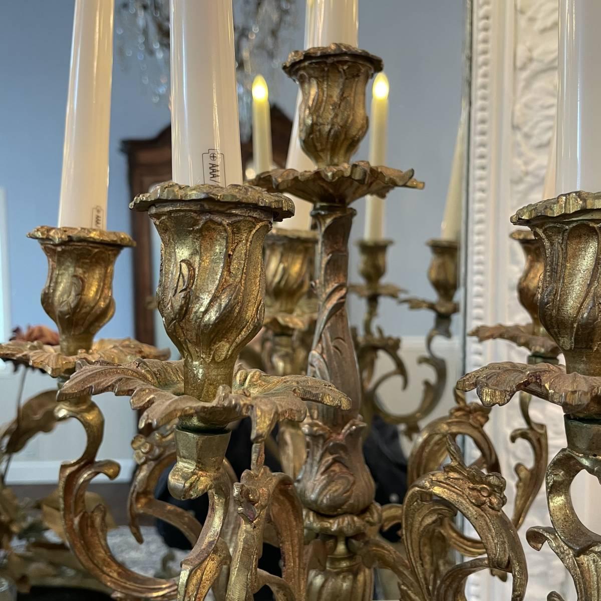 フランスアンティーク キャンドルスタンド ペア ルイ15世様式 ロココ アンティーク シャンデリア 蝋台 大型 セット_画像8