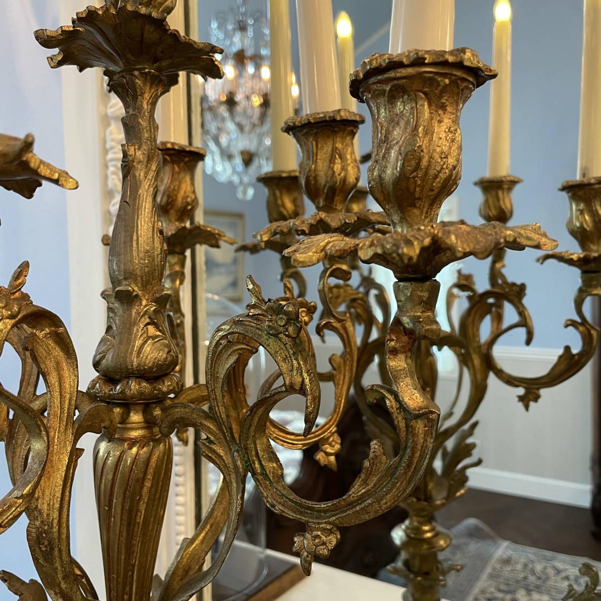 フランスアンティーク キャンドルスタンド ペア ルイ15世様式 ロココ アンティーク シャンデリア 蝋台 大型 セット_画像9