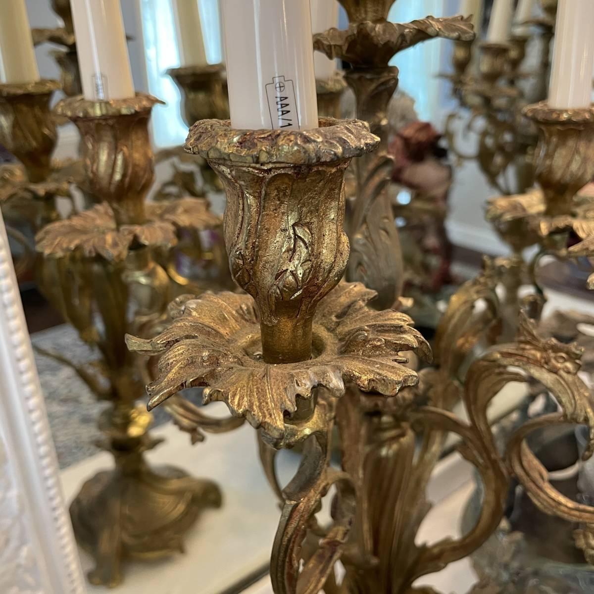 フランスアンティーク キャンドルスタンド ペア ルイ15世様式 ロココ アンティーク シャンデリア 蝋台 大型 セット_画像7