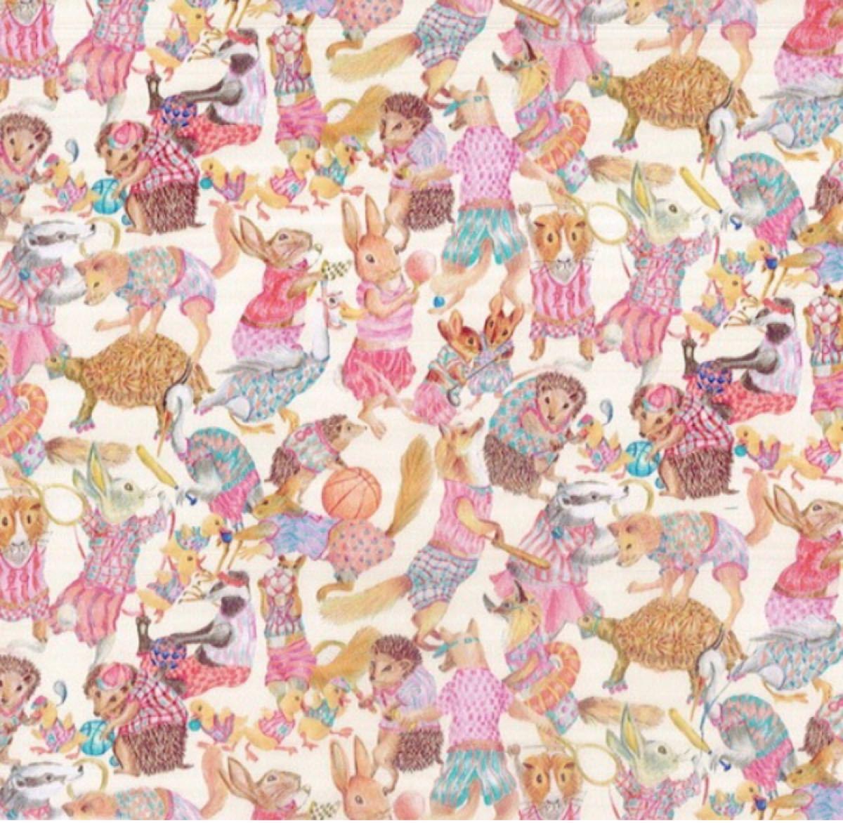 リバティ ハラバルー ピンク 生地幅×100cm 国産タナローン カットクロス ハンドメイド はぎれ