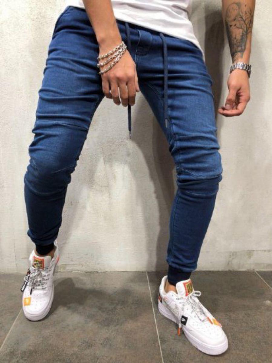 メンズ デニムジョガーパンツ スキニー ジーンズ デニム調 ブルー デニムパンツ ジョガーパンツ