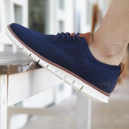 ☆新品 軽量ソフト男性スニーカーシューズ通気性の男性の靴フラッツ カジュアルニットメッシュメンズ靴固体浅いレースアップ_画像10