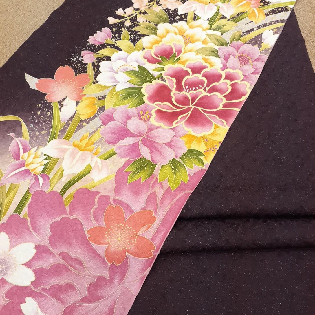 正絹 31706 振袖生地 小豆色 ピンク色 花柄 シルク はぎれ ハギレ リメイク ハンドメイド