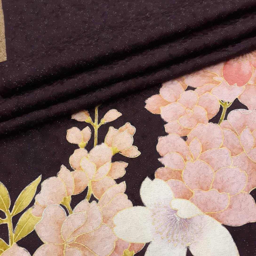正絹 31707 振袖生地 小豆色 ピンク 花柄 シルク はぎれ ハギレ リメイク ハンドメイド