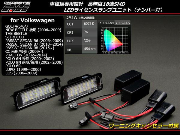 LED ライセンスランプ VW フォルクスワーゲン ゴルフ4 ゴルフ5 ゴルフ6 ゴルフ7 ニュービートル等 R-113_画像1