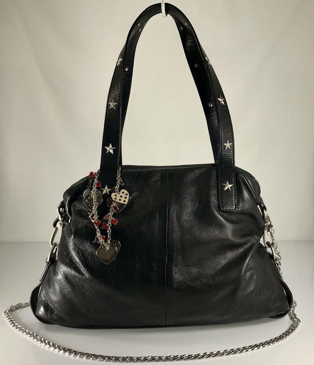美品 agnes b アニエス・ベー 本革高級牛皮 2WAY 可愛い スタッズ付き ブラック iPad収納 トート&ショルダーバッグ。ロゴチャーム付き。