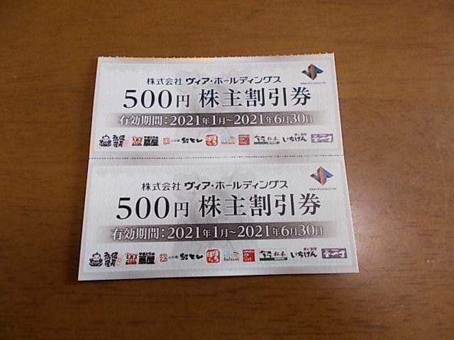 最新 ヴィア・ホールディングス 株主優待券 500円×2枚(1000円分)2021.1.~2021.6.30まで_画像1