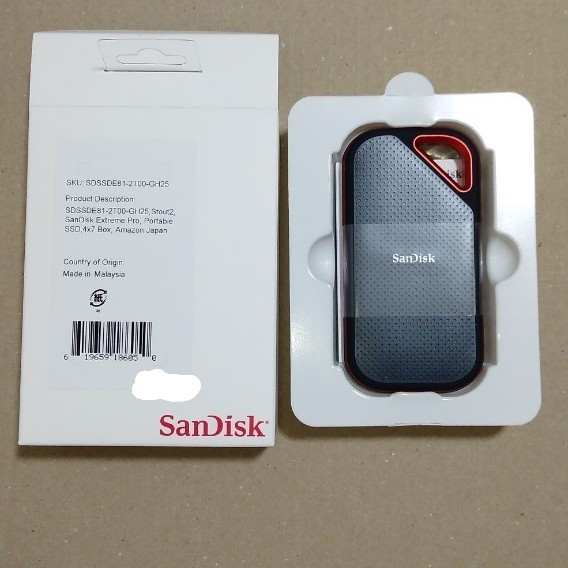 SanDisk ポータブルSSD 2TB USB 3.2 Gen 2x2 最大2000MB/秒 防滴防塵