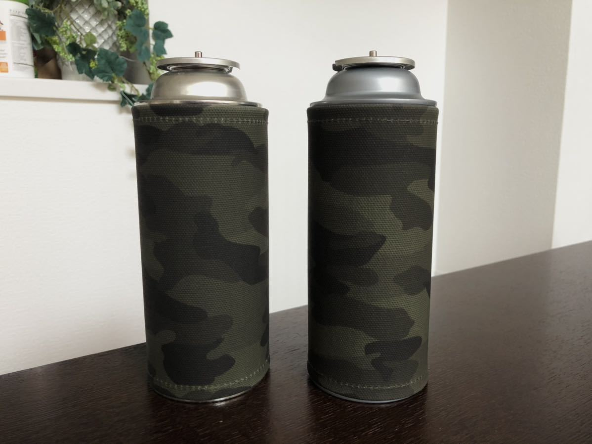 【2本セット】カセットガスカバー ガス缶カバー CB缶カバー(迷彩 カモフラ 濃カーキ)