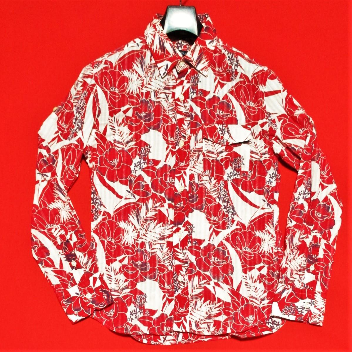 アバハウス★アロハ花柄 かすれストライプ 長袖シャツ 袖丈調節可能 本格ヴィンテージデザイン 赤×白 3 リゾート テレワーク&クールビズ◎_画像1