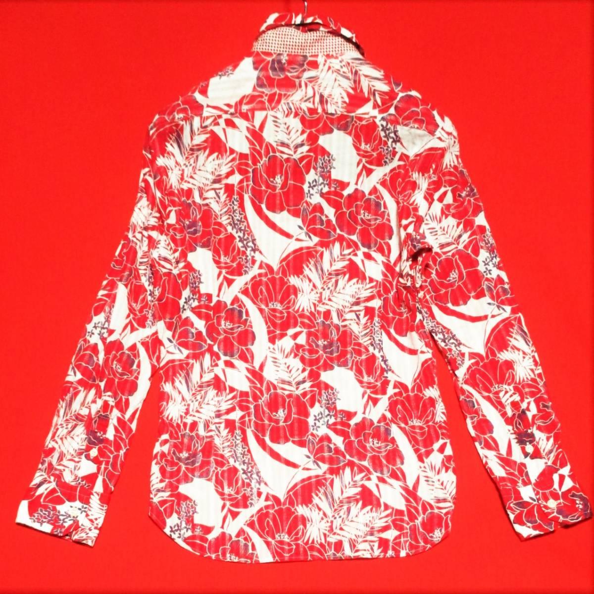 アバハウス★アロハ花柄 かすれストライプ 長袖シャツ 袖丈調節可能 本格ヴィンテージデザイン 赤×白 3 リゾート テレワーク&クールビズ◎_画像2