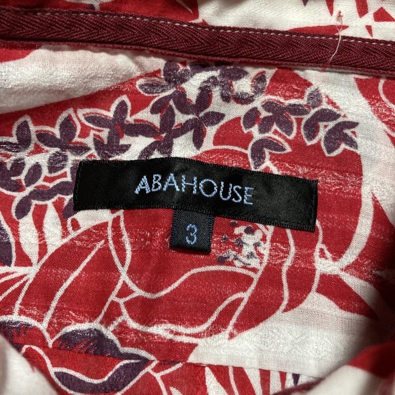 アバハウス★アロハ花柄 かすれストライプ 長袖シャツ 袖丈調節可能 本格ヴィンテージデザイン 赤×白 3 リゾート テレワーク&クールビズ◎_画像8