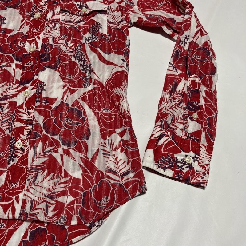 アバハウス★アロハ花柄 かすれストライプ 長袖シャツ 袖丈調節可能 本格ヴィンテージデザイン 赤×白 3 リゾート テレワーク&クールビズ◎_画像4
