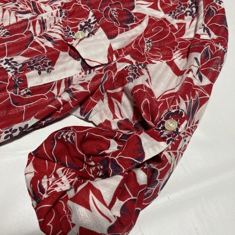 アバハウス★アロハ花柄 かすれストライプ 長袖シャツ 袖丈調節可能 本格ヴィンテージデザイン 赤×白 3 リゾート テレワーク&クールビズ◎_画像6