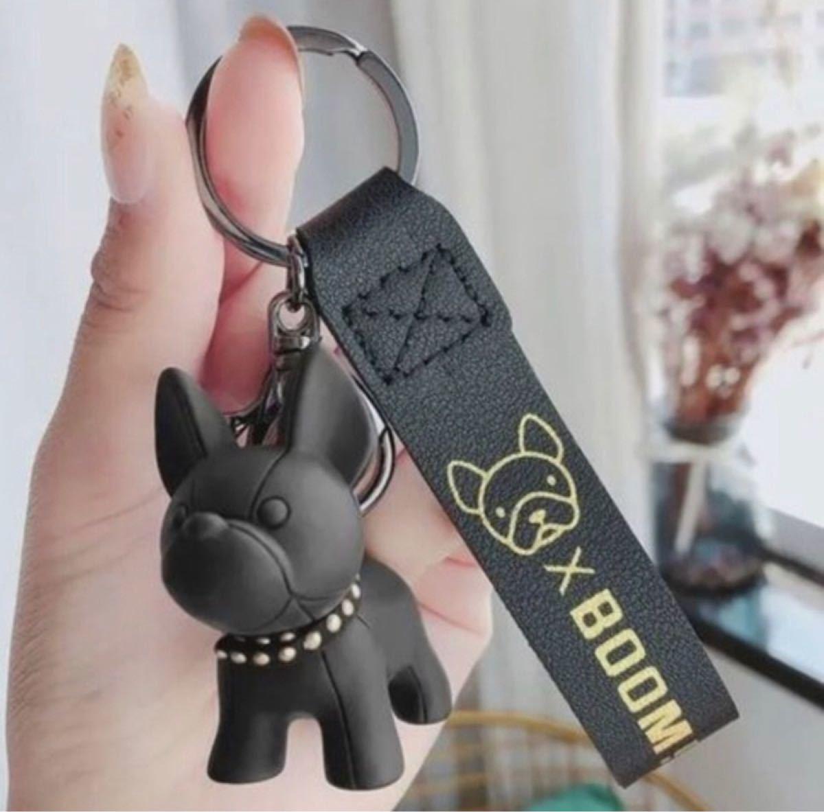 黒 フレンチブルドッグ キーホルダー ブルドック ブラック キーリング 韓国 キーホルダー キーチェーン