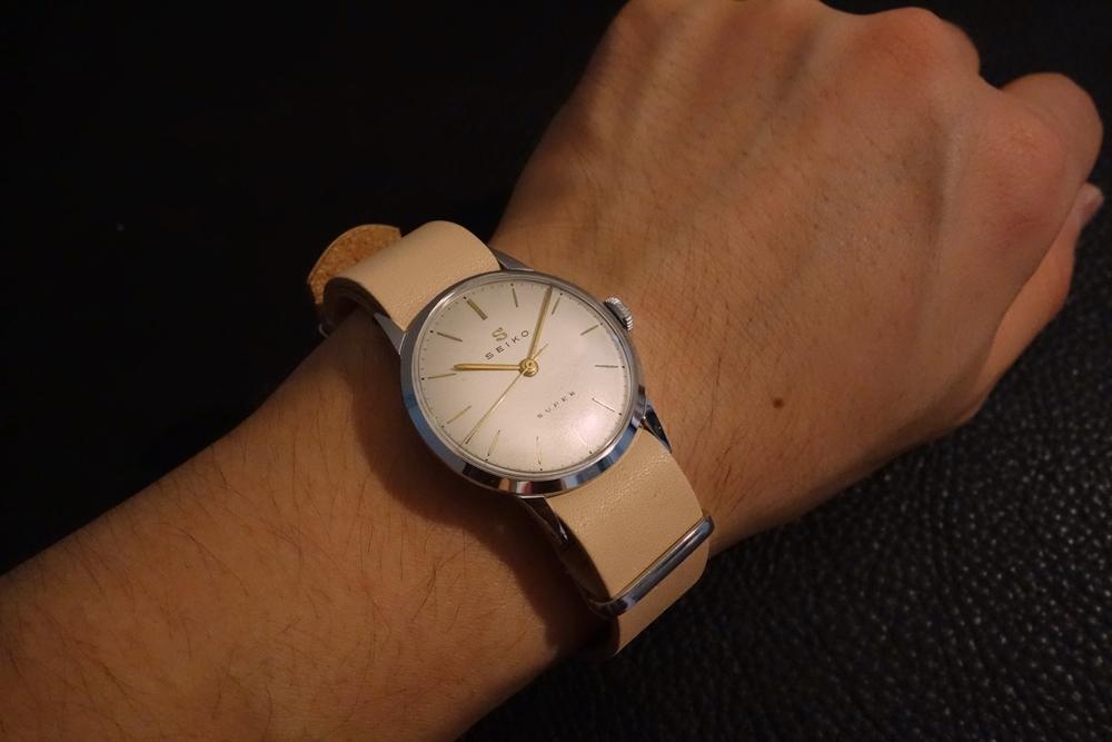 ◆ヌメ革 NATO G10ストラップ◆国産ヌメ革 18mm ナチュラル 日本製 本牛革 ミリタリー ブレスレット 腕時計ベルト_ビンテージウォッチにもしっくりきます。